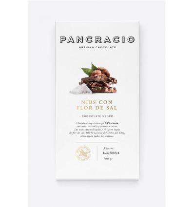 Pancracio Chocolate Negro con Nibs y Flor de Sal Natural Tableta 100g